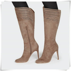 Boho High Heel Boots w/ Laser Cut Outs in Taupe